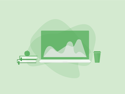 Content Marketing Tools Illustration flat vector style laptop cup apple bookmark books coffee green blog illustration