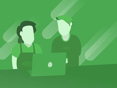 Employee Advocates eBook Cover Illustration illustration blog desk green no face people laptop style vector flat