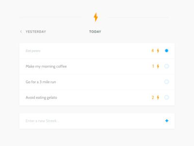 Streek - A Habits App streak ui lightning task check-list todo list orange blue product daily concept