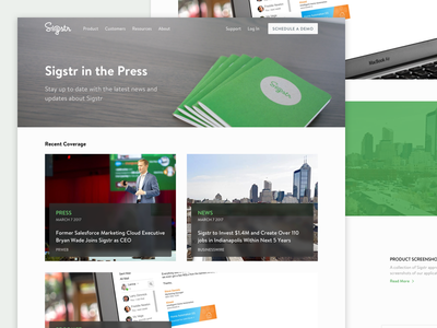 Sigstr Redesign - Press green ux ui website email signatures saas news press redesign page marketing