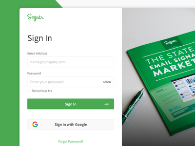 Sigstr App Login Refresh product signatures ux ui interface email saas martech app form login green