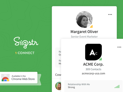 Sigstr Connect - Chrome Extension style email design relationships b2b marketing sales saas product design ux google chrome chrome extension flat green ui