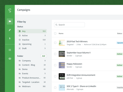 Sigstr Campaigns - Index Page banner ad banner email signature email list web marketing status tab filter table product design ux saas flat green ui
