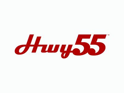 Hwy55 Branding 55 highway minimal food black identity restaurant vintage retro clean red logo branding