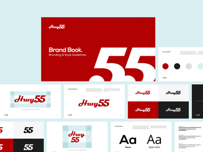 Hwy55 Brand Book specs pages clean highway minimal restaurant logo white black red guidelines book branding
