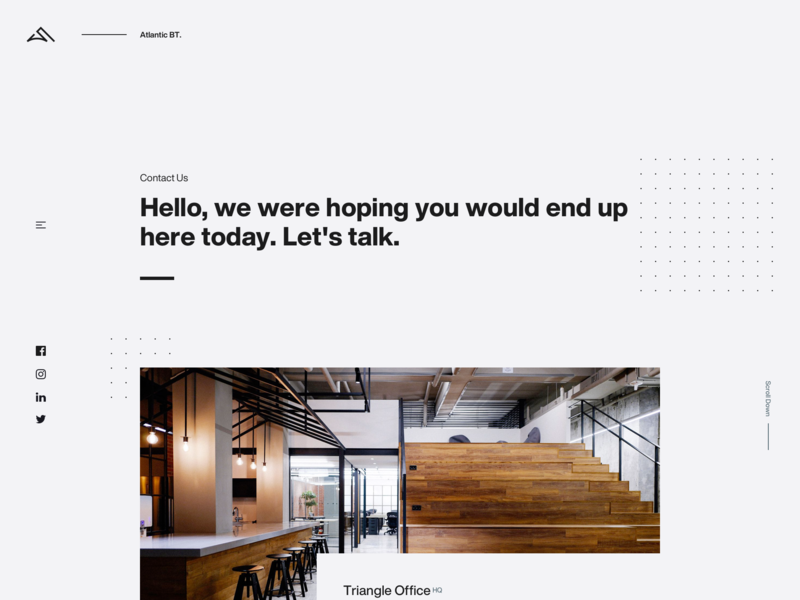 Agency Contact content offices landing page fullscreen desktop minimal clean simple contact agency