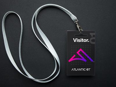 Visitor Pass sans-serif dark number lanyard logo geometric pink purple gradient black badge pass visitor print