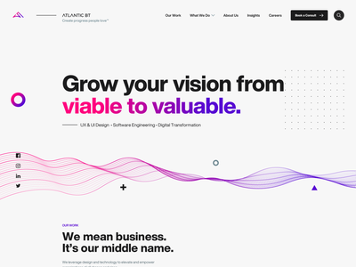 Digital Agency Home Page geometric geometry gradient design feed videos photos off-canvas projects gradient homepage colorful desktop modern flat simple minimal clean