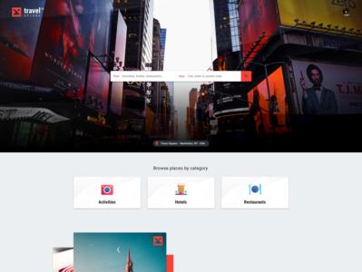 Trip Advising Web App –Home landing icons design photos homepage app web app colorful desktop modern flat simple minimal clean