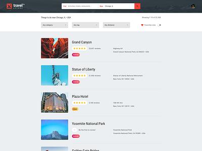 Trip Advising Web App –Listing Results reviews photos search results list archive web app app colorful desktop modern flat simple minimal clean