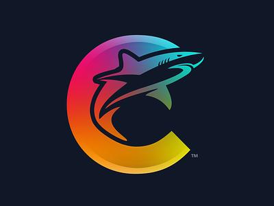 ColorShark - Branding Logo spectrum vibrant lettering dark simple icon shark colorful clean logo branding and identity branding