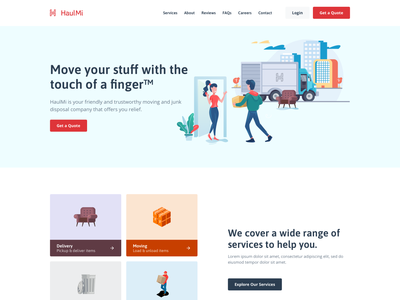 Moving Company - Home Page red large type tiles illustrations homepage colorful desktop modern flat simple minimal clean