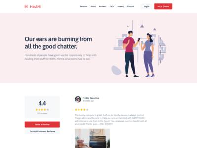 Moving Company - Customer Reviews ratings users stars rating illustrations customers reviews colorful desktop modern flat simple minimal clean