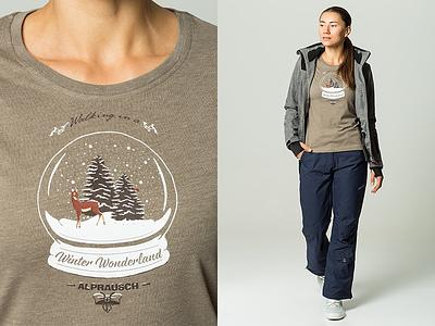 Winter Wonderland Snow Globe wonderland winter switzerland collection aw15 design graphic alprausch screenprint print t-shirt illustration