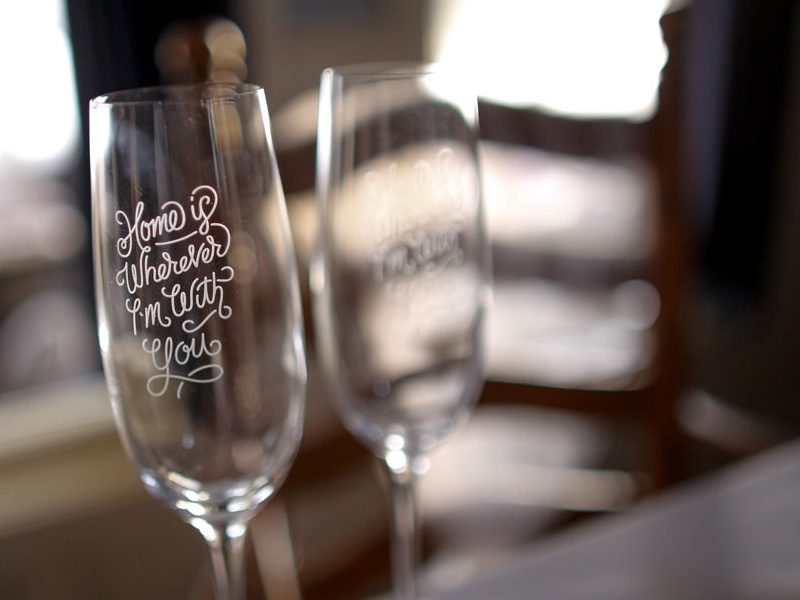 Champagne Flutes  illustration script typography etched type lettering