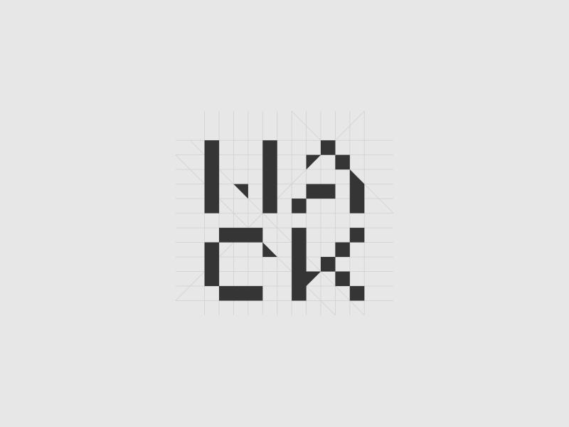 Hack hackathon hack grid tech pixels wordmark identity type logo