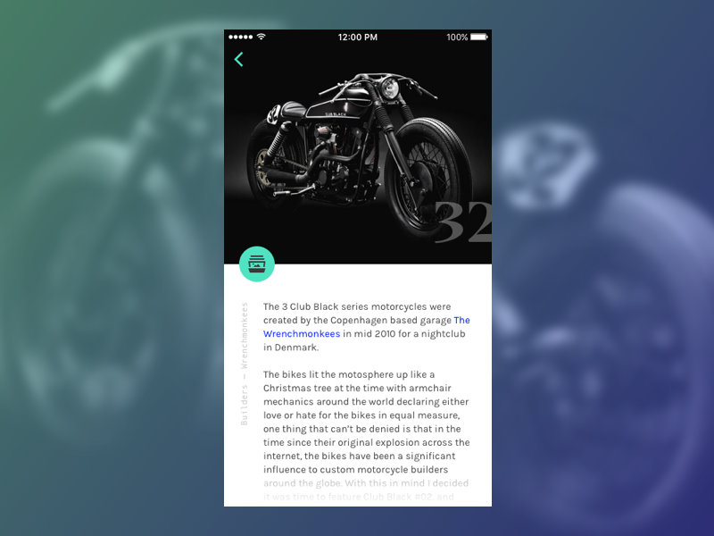 Moto Editorial ui cafe racer mobile ios gradient motorcycle serif big type editorial