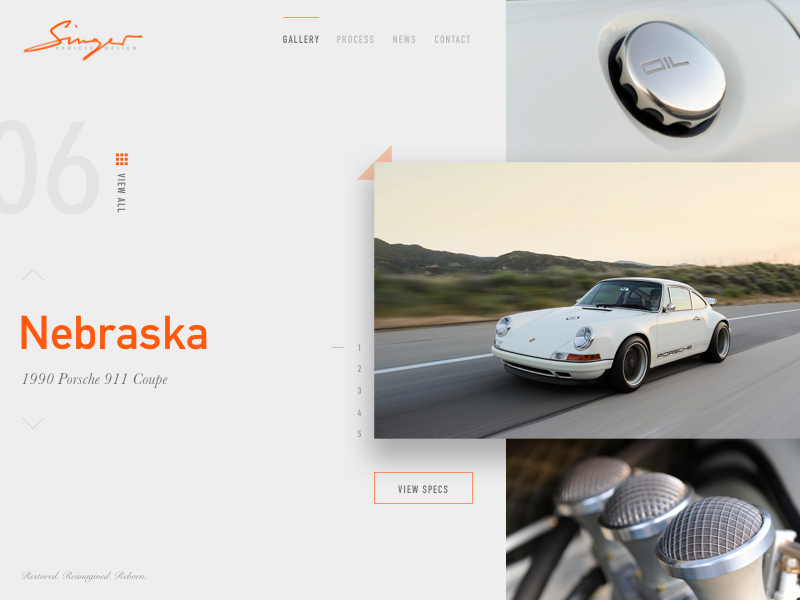 Singer Porsche 911 Coupe experimental drop shadows gallery big type porsche web