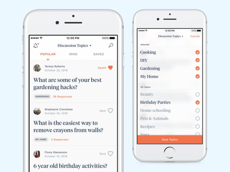 Discussions iOS Concept big type serif discussions feed ui app ios