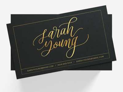 Custom Calligraphy Business Card lettering foil gold gold foil stationery calligraphy business card
