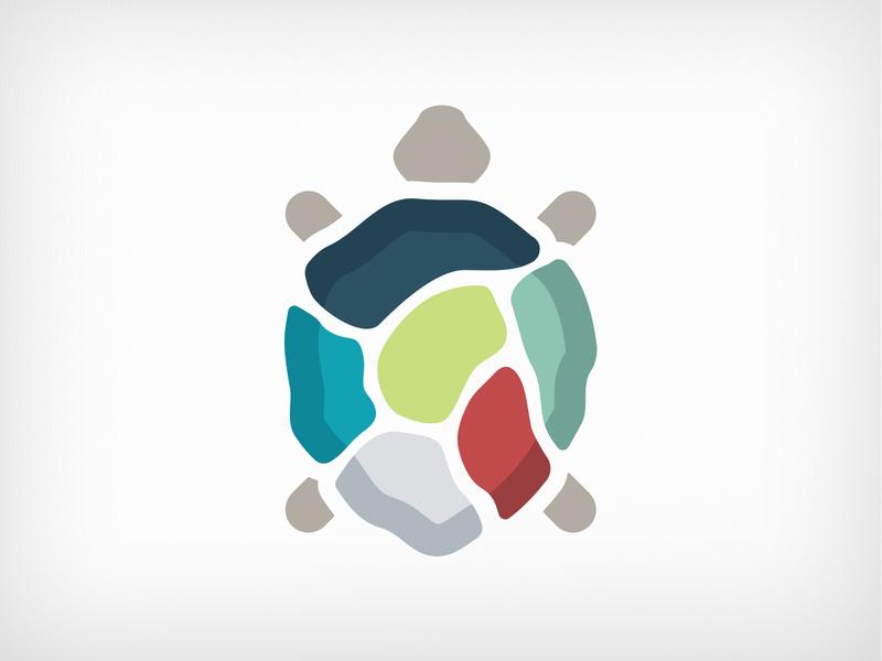 Turtle logo mark animal mosaic emblem turtle