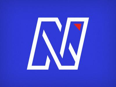 North line red blue letter type monogram north