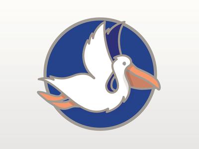 No Shore Too Distant blue orange animal line pin enamel pelican