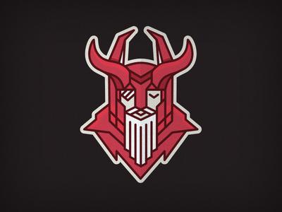 Odin line mono red god odin