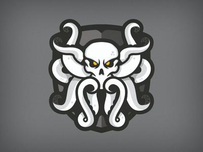 Octopus Jolly Roger logo logo mark emblem branding jolly roger pirate mascot skull octopus badge crest shield