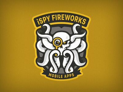 iSpy Fireworks fireworks skull shield octopus mascot logo mark logo emblem crest branding badge