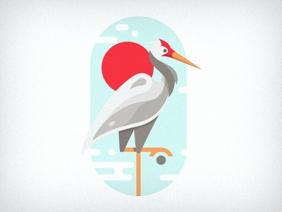 Stork nature icon logo badge stork illustration bird