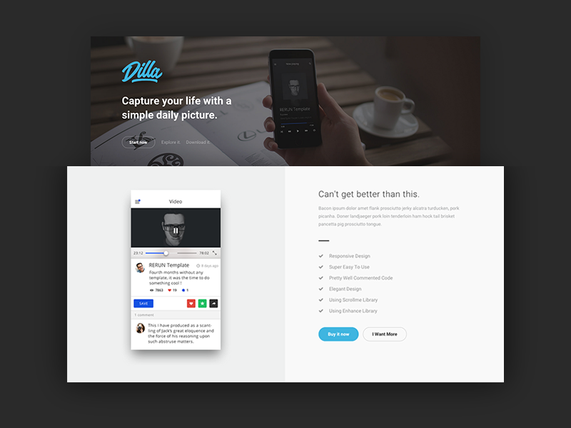 Dilla - WIP Landing Page minimal clean html template onepage themeforest landing