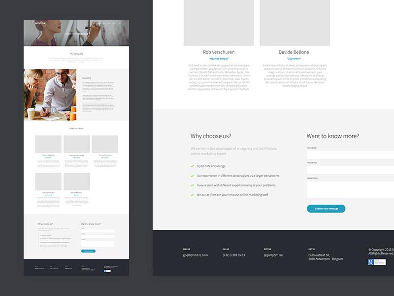 Optimize - About Us Page portfolio checklist members team simple clean