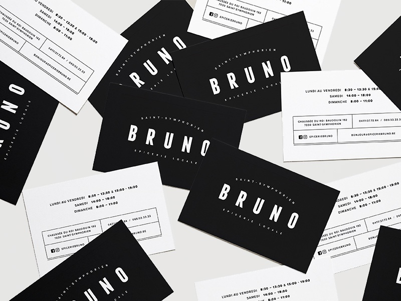 Epicerie Bruno Business Card grocery dark simple visit card traditional epicerie fine epicerie business card