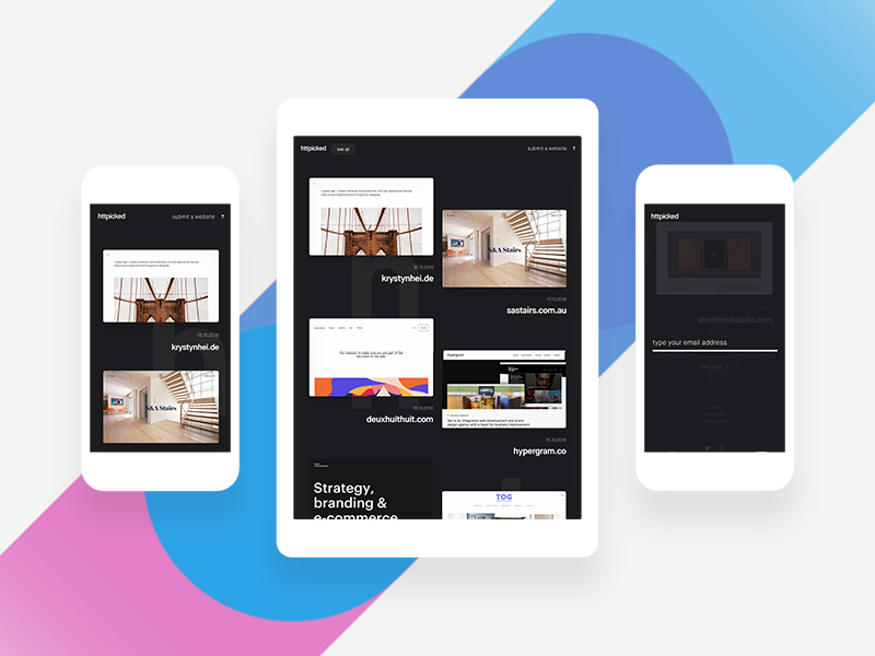 httpicked.com mobile refresh clean featured awards webdesign websites gallery daily inspiration minimal