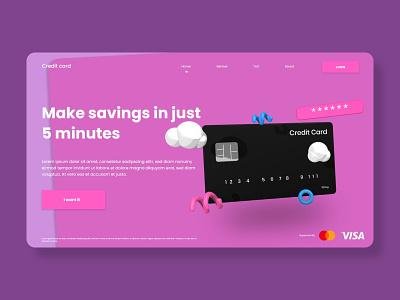#012 Credit Card Website illustration app design landingpage ux design inspiration ui