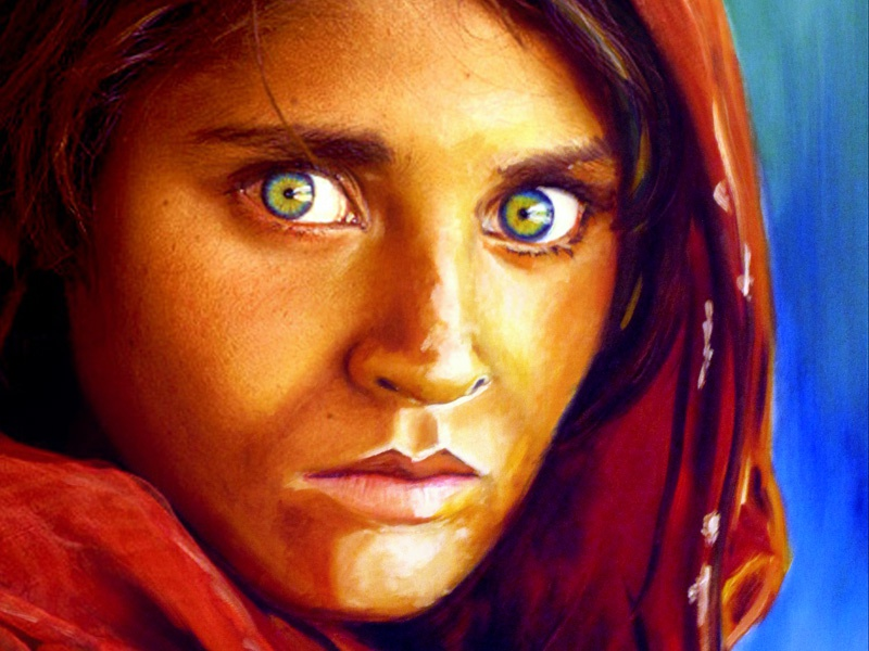 Afghan Girl Blend mixed media afghan blend photograph painting oil