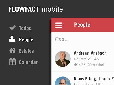 FLOWFACT mobile - people list crm ux app interface ui mobile flat list