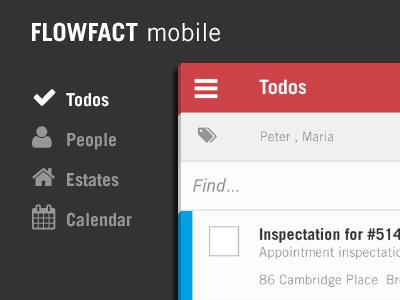 FLOWFACT mobile - todo list flat mobile interface ui app list ux crm