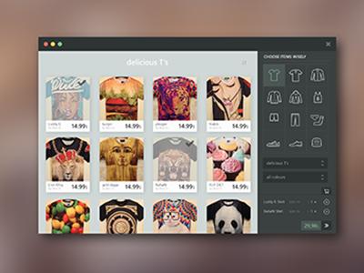 Shopping App t-shirt webapp app ui cards shop shopping grid shirts