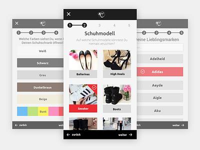 Mobile Shoe Questionaire responsive phone iphone shoes shoe select guide mobile survey ui questionaire