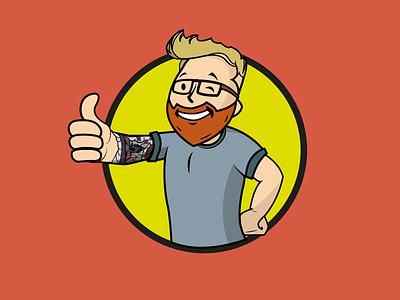 Self portrait Vaultboy! pipboy3000 geeky inspired fallout 3 self portrait illustrator vaultboy