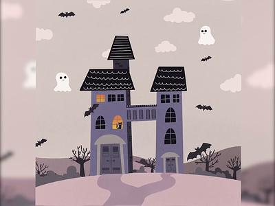 36 days of type: H dark theme witch house witch house halloween landscape artist art design procreate branding typography art illustration graphic design
