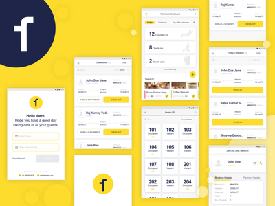 Hotel Management app concept: Fab hotels user travel tablet dasdhboard hotel tab app management