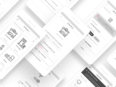 Wire Frames- IoT for smart homes interface ui minimalism navigation user flow complex reduction wire frames app