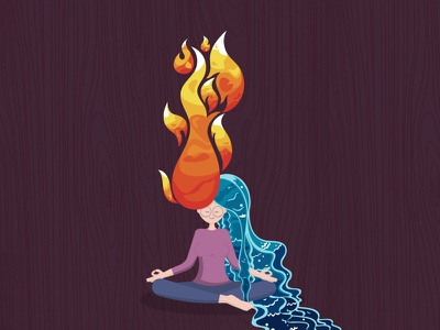 Fire and water graphic art graphics art character patterns pattern water fire girl illustration
