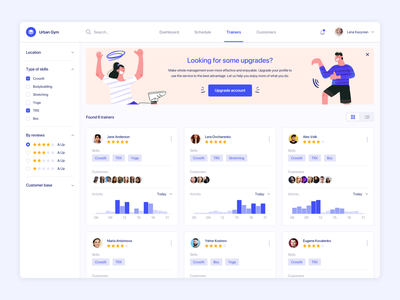 Fitness admin panel responsive schedule digital admin panel fitness app product design web agilie illustration clean interface sport ux diagrams ui dashboard