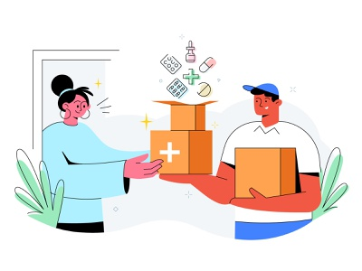 Medicine delivery illustration illustration medicine app medical app medicine medicine delivery digital interface 2d art vector drawing character characters art