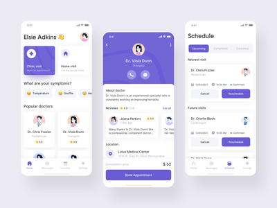 Medical App minimal illustration clinic hospital doctor appointment healthcare health mobile app mobile clean doctor app medical app ios ui ux