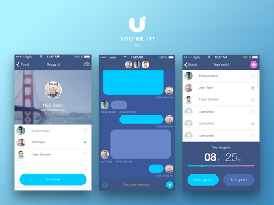 You're It! app design concept ui ux sketch mobile ios iphone flat clean simple art animation interface android game